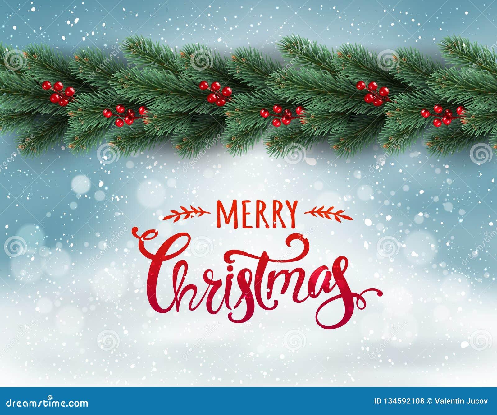 Feliz Navidad tipográfica en fondo nevoso con la guirnalda de las ramas de árbol adornadas con las bayas, bokeh, copos de nieve