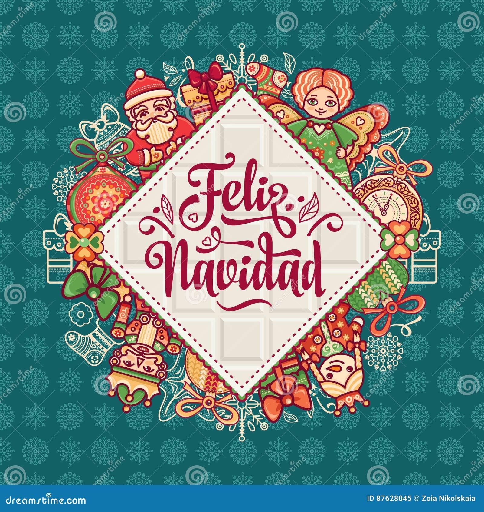 Weihnachtskarten Englisch Kostenlos.Feliz Navidad Weihnachtskarte Auf Spanischer Sprache Vektor