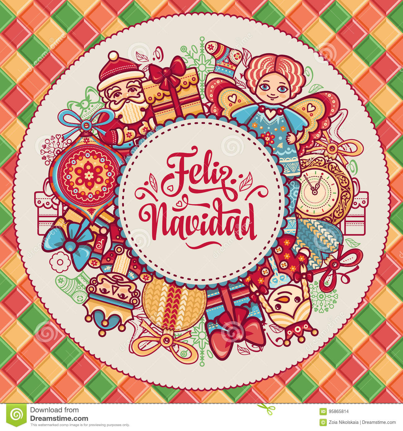 christmas decorations for invitations and greeting cards winter toy feliz navidad xmas card on spanish language warm wishes for happy holidays in spain