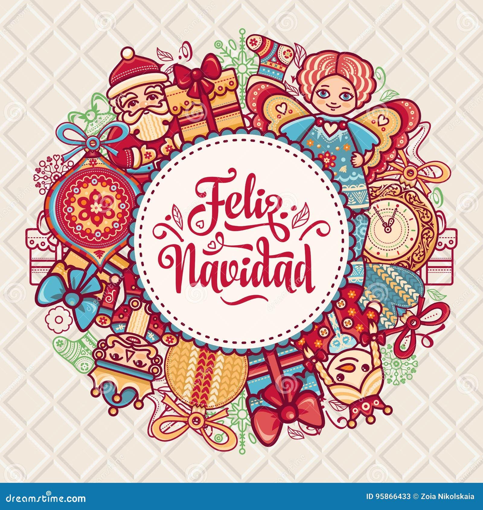 Feliz Navidad Xmas Card On Spanish Language Stock Vector