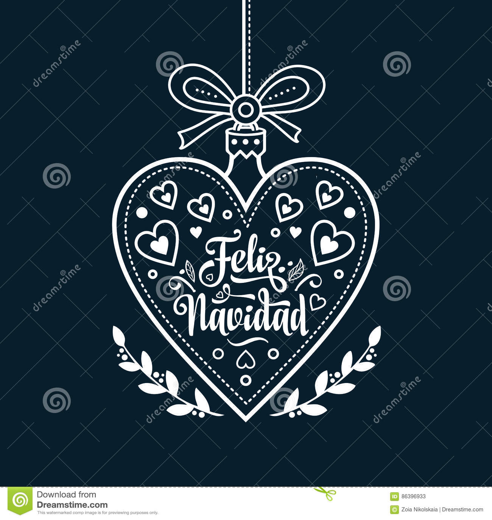 Feliz Navidad. Xmas Card On Spanish Language. Warm Wishes For Happy ...