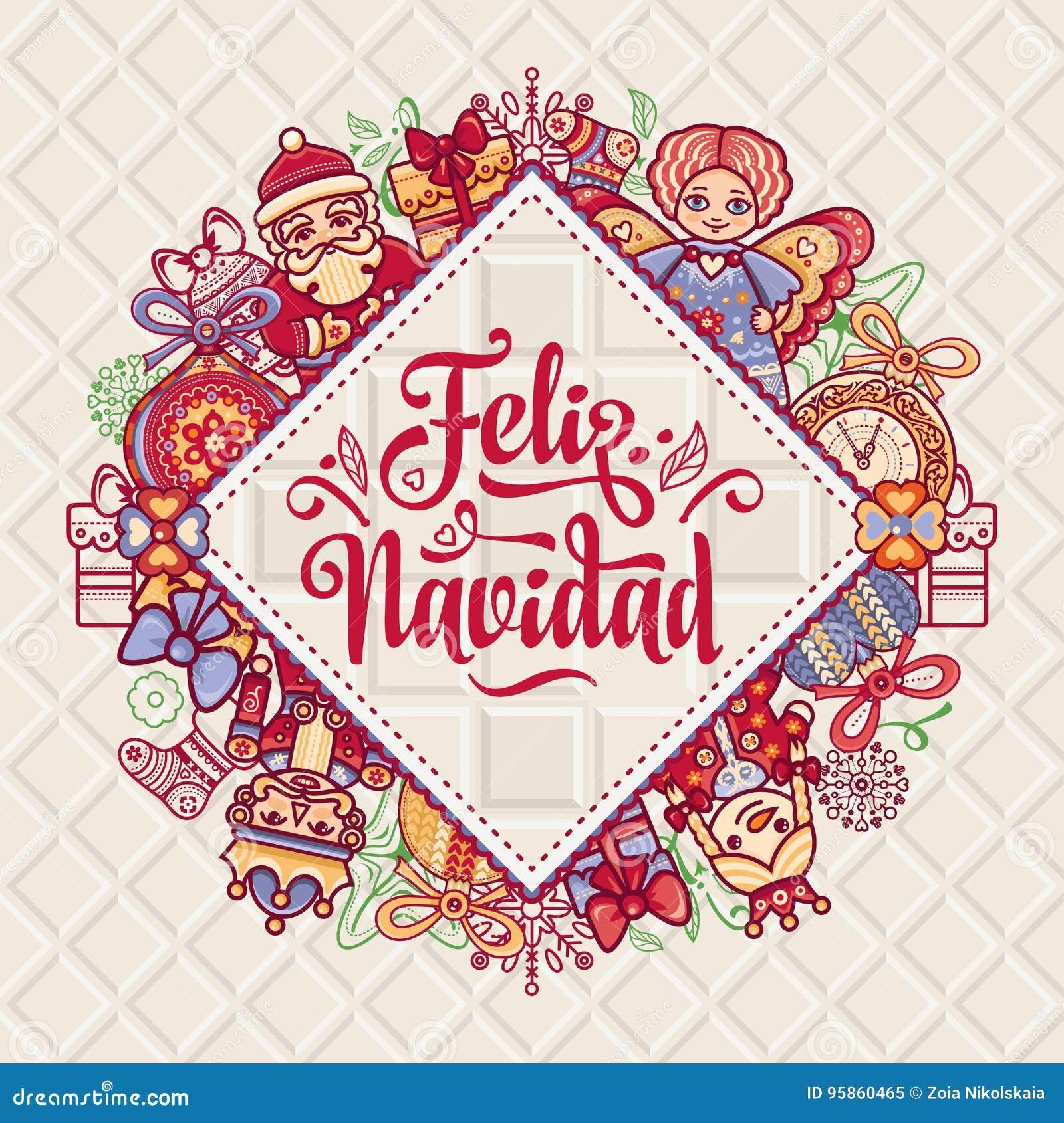 Feliz Navidad Xmas-kort på spanskt språk