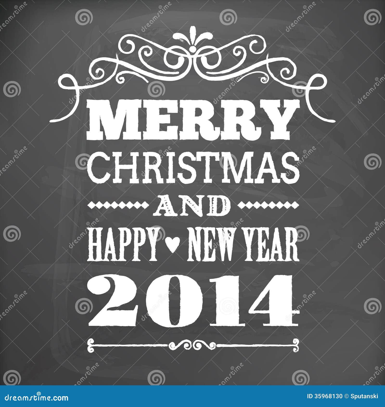Feliz Navidad y Feliz Año Nuevo 2014 en tarjeta de la pizarra