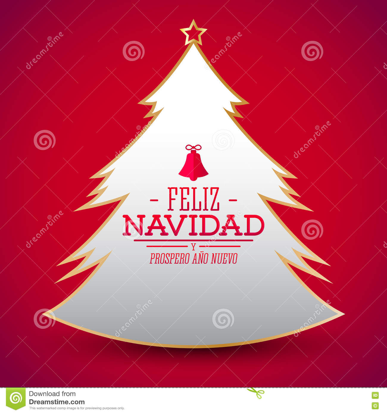 feliz navidad y prospero ano nuevo spanish translation merry christmas and happy new year simple glossy christmas tree vector eps available