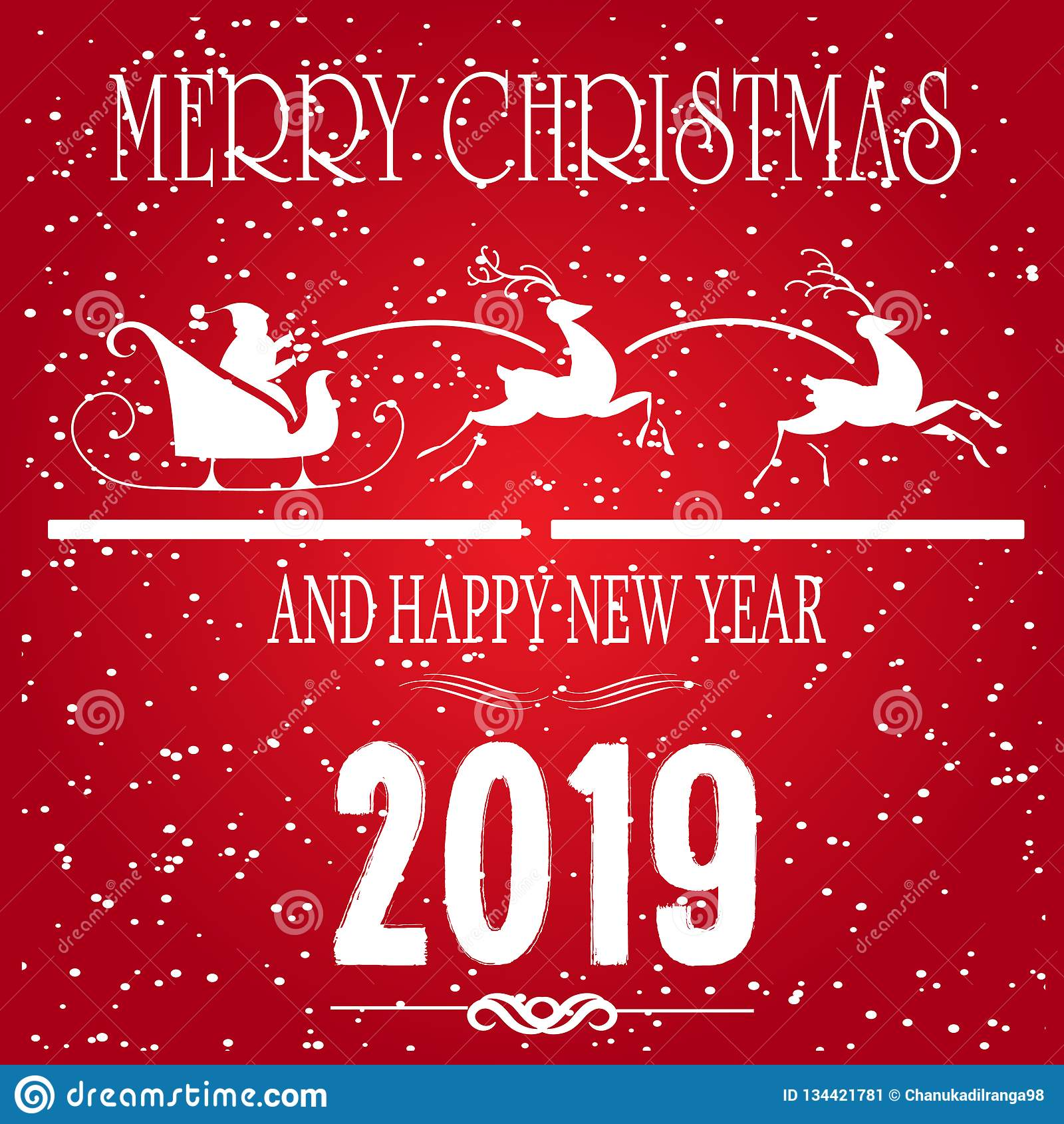 Feliz Navidad y tarjeta de felicitación de las vacaciones de invierno del concepto de la Feliz Año Nuevo en fondo rojo Diciembre,
