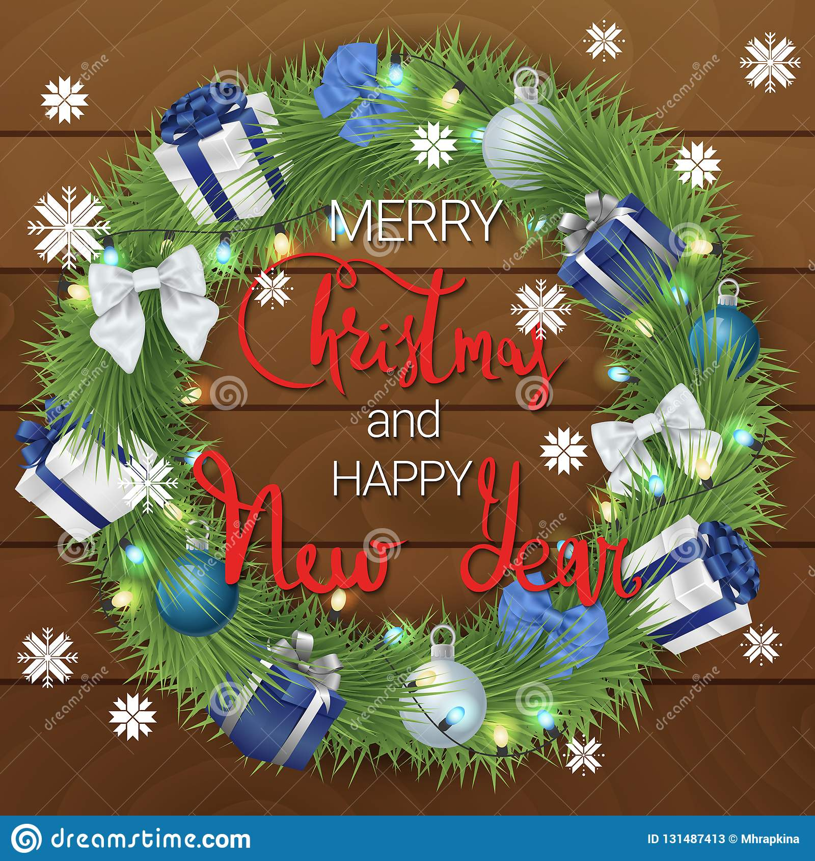 Feliz Navidad y una Feliz Año Nuevo Una guirnalda festiva hecha de ramas y de decoraciones coníferas de la Navidad Guirnalda de l