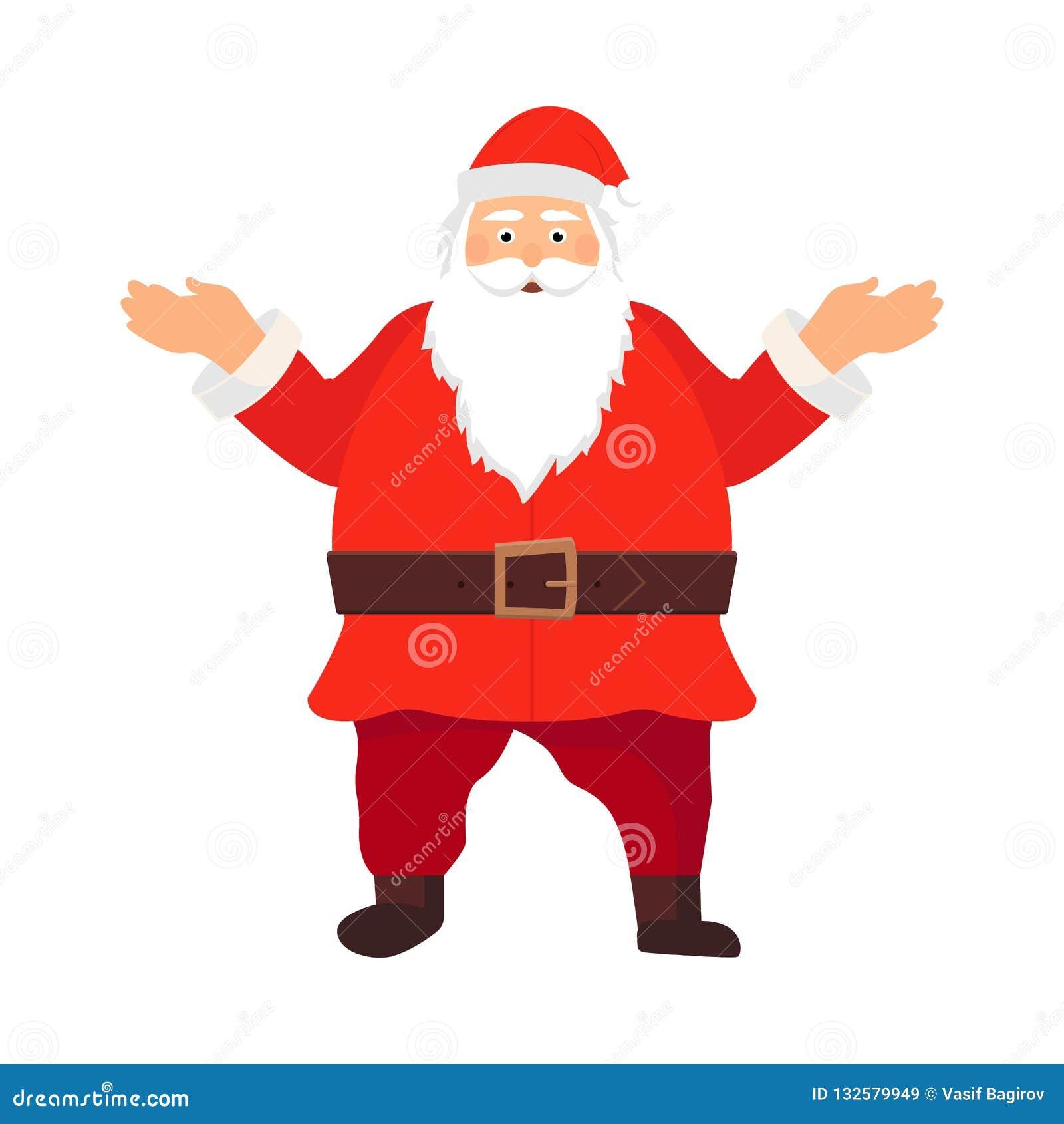 Feliz Papá Noel El viejo hombre sonriente de la historieta en cláusulas se adapta a decir el ejemplo del vector de la historia de