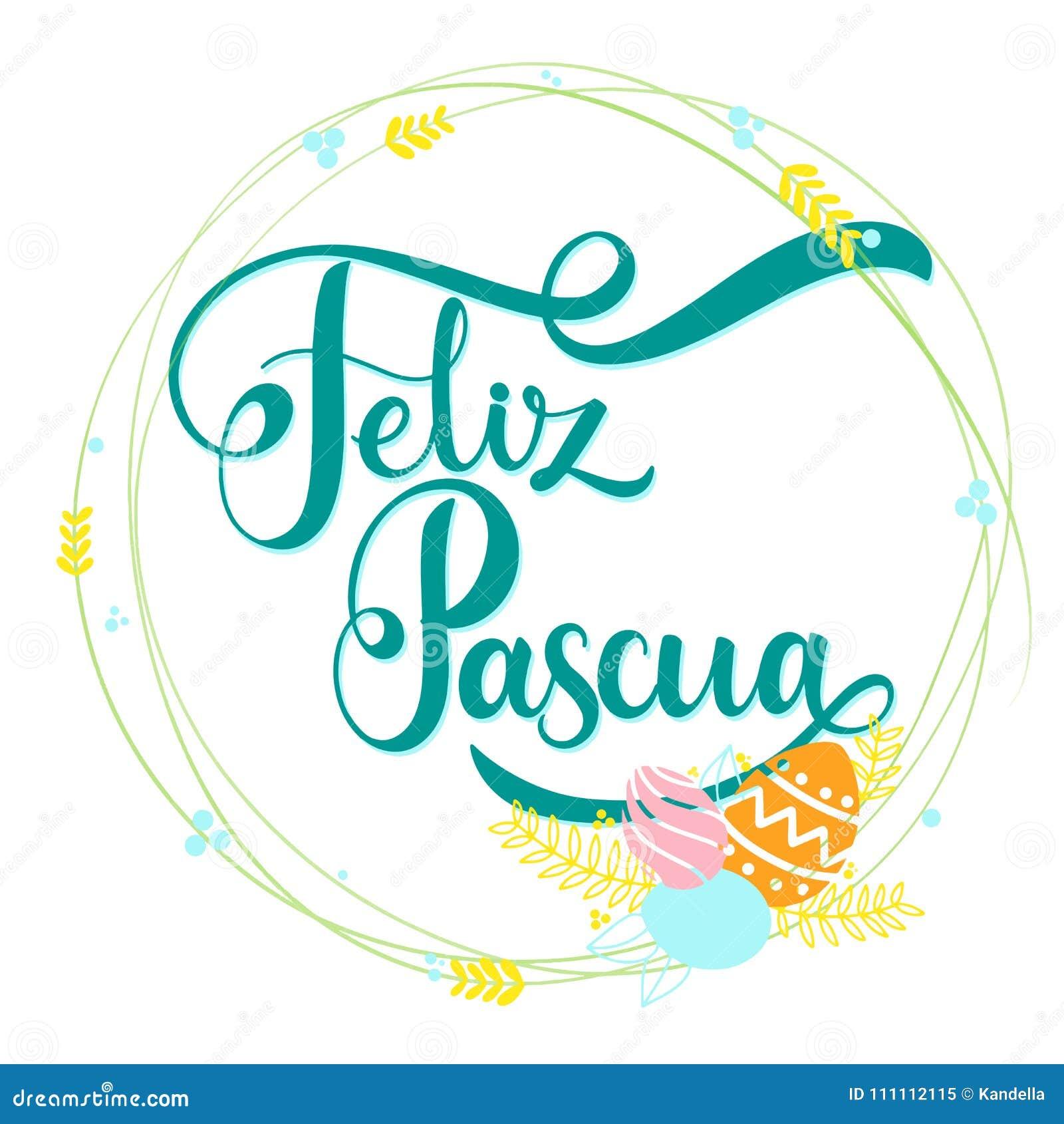 Feliz Pascua Colorful Lettering Stock Vector Illustration Of
