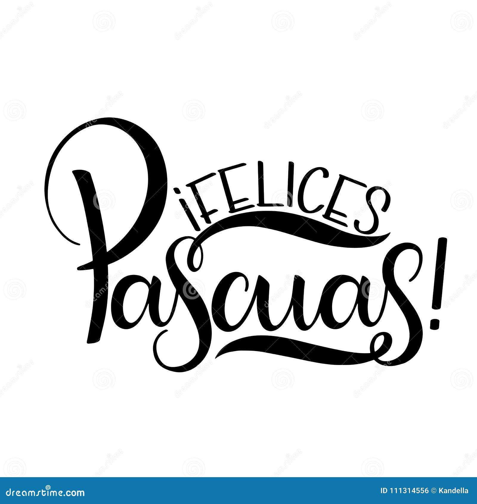 Feliz Pascua Lettering Stock Vector Illustration Of Happy 111314556