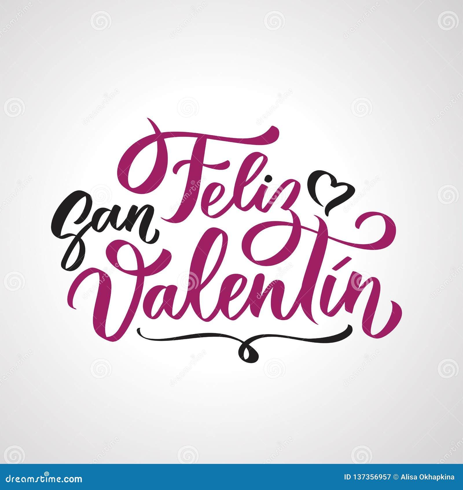 Feliz San Valentin handskriven text på spanskt