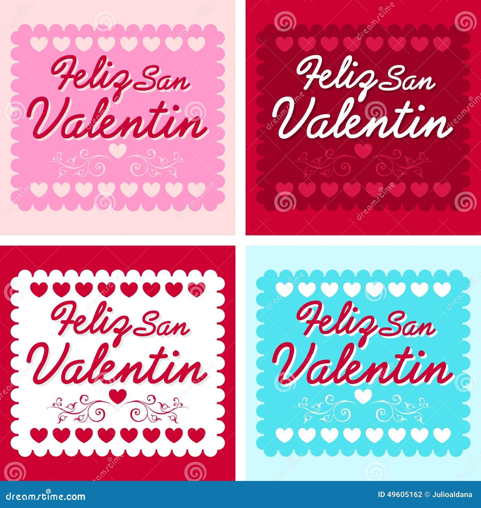 Feliz San Valentin Happy Valentines Day In Spanish Stock Vector
