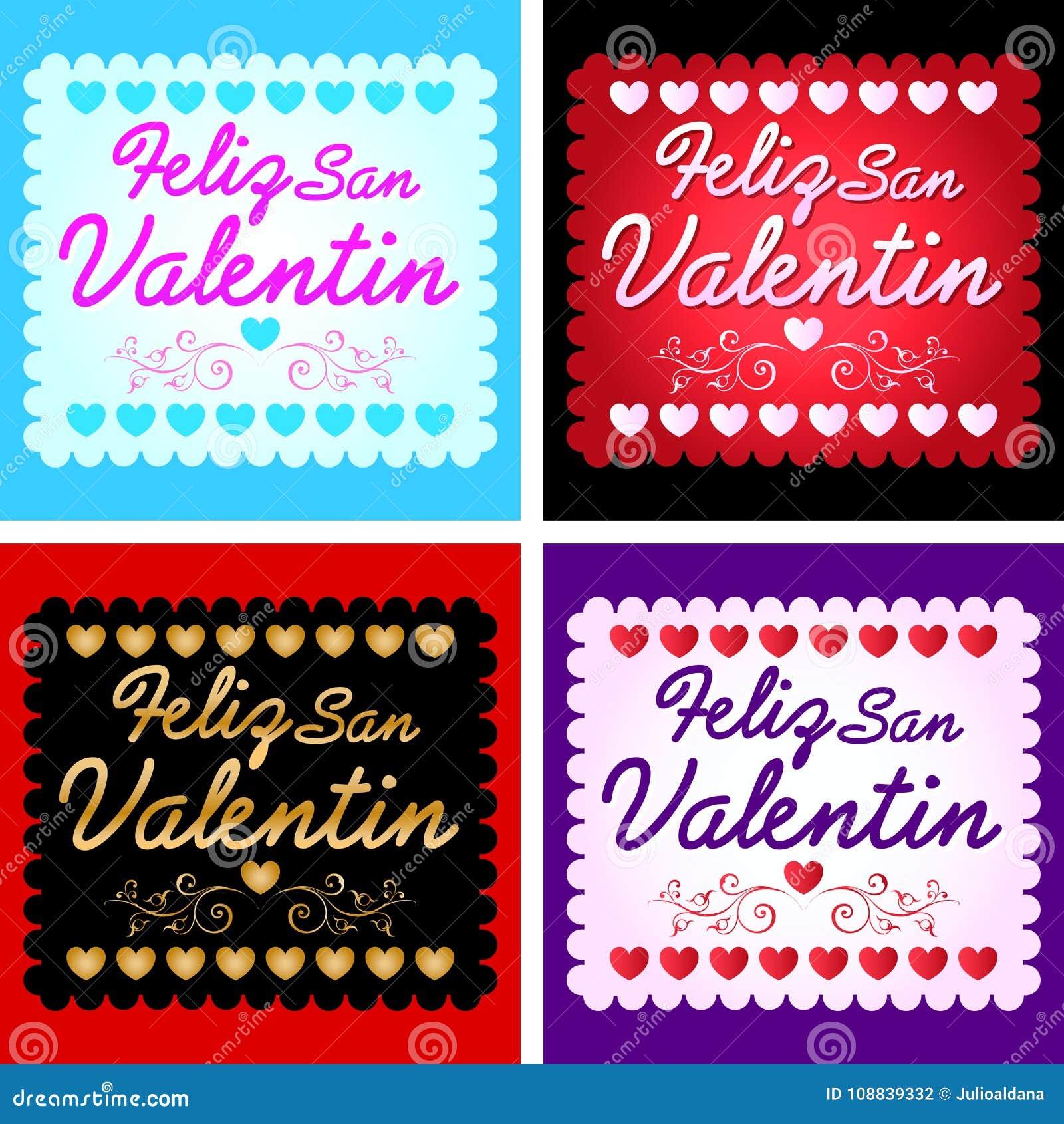 Feliz San Valentin Happy Valentines Day In Spanish Language Stock