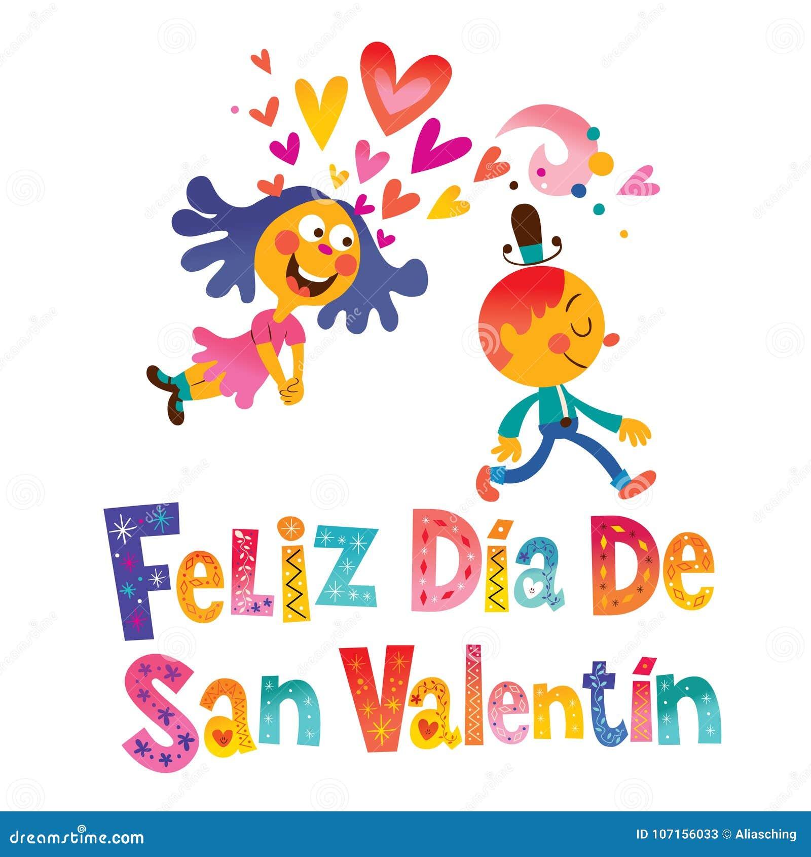 Felizdia DE San Valentin Happy Valentines Day in het Spaans