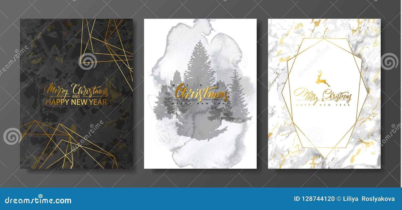 2019 Felizes Natais e coleção dos cartões do luxo do ano novo feliz com textura do mármore e da aquarela e forma geométrica doura