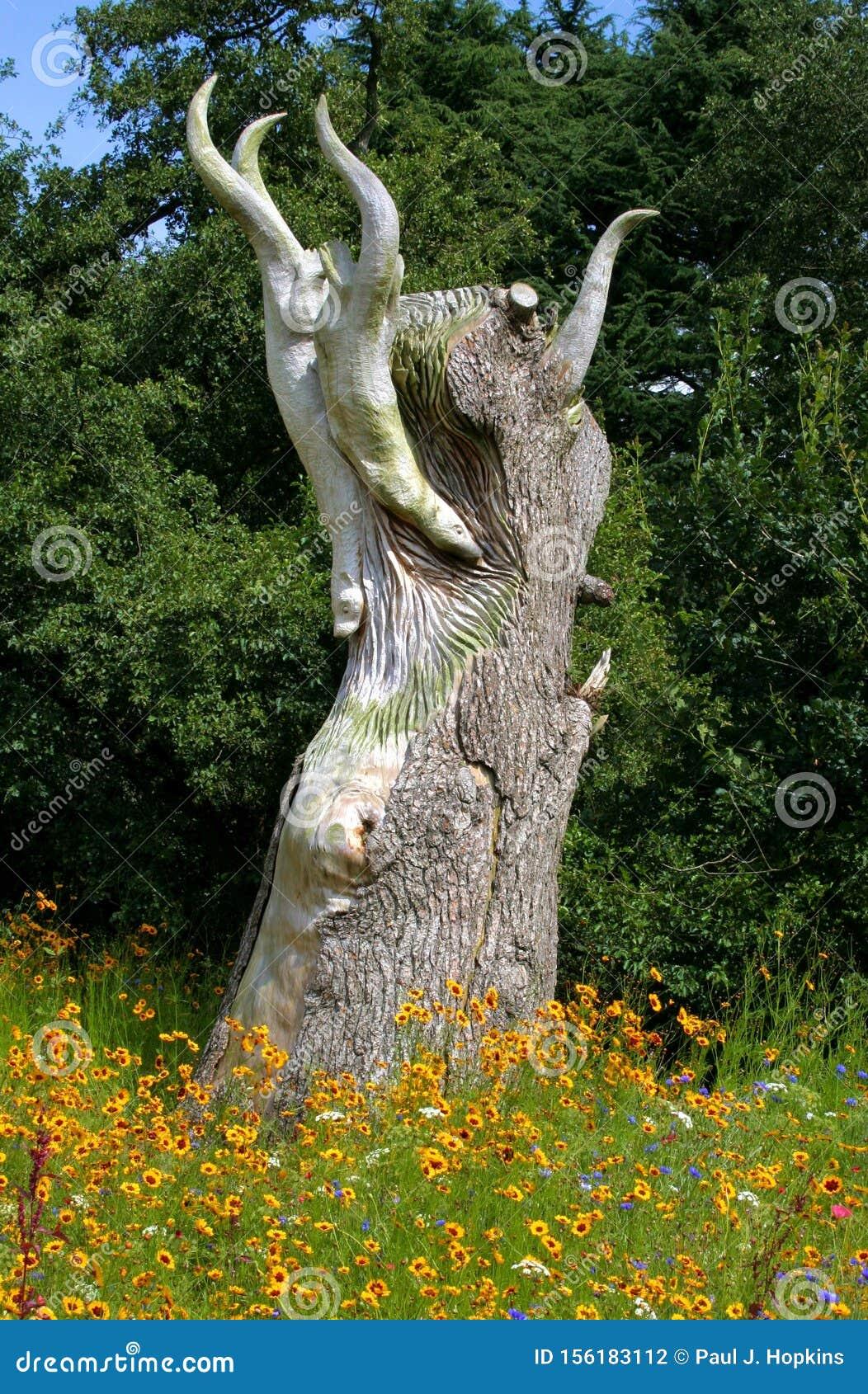 Felled Tree Trunk Carved Sculpture at Trentham Estate