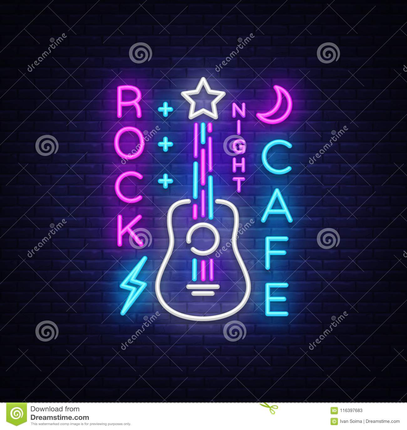 Felsen-Café Logo Neon Vector Schaukeln Sie Café-Leuchtreklame, Konzept mit Gitarre, helle Nachtwerbung, helle Fahne, Live Music