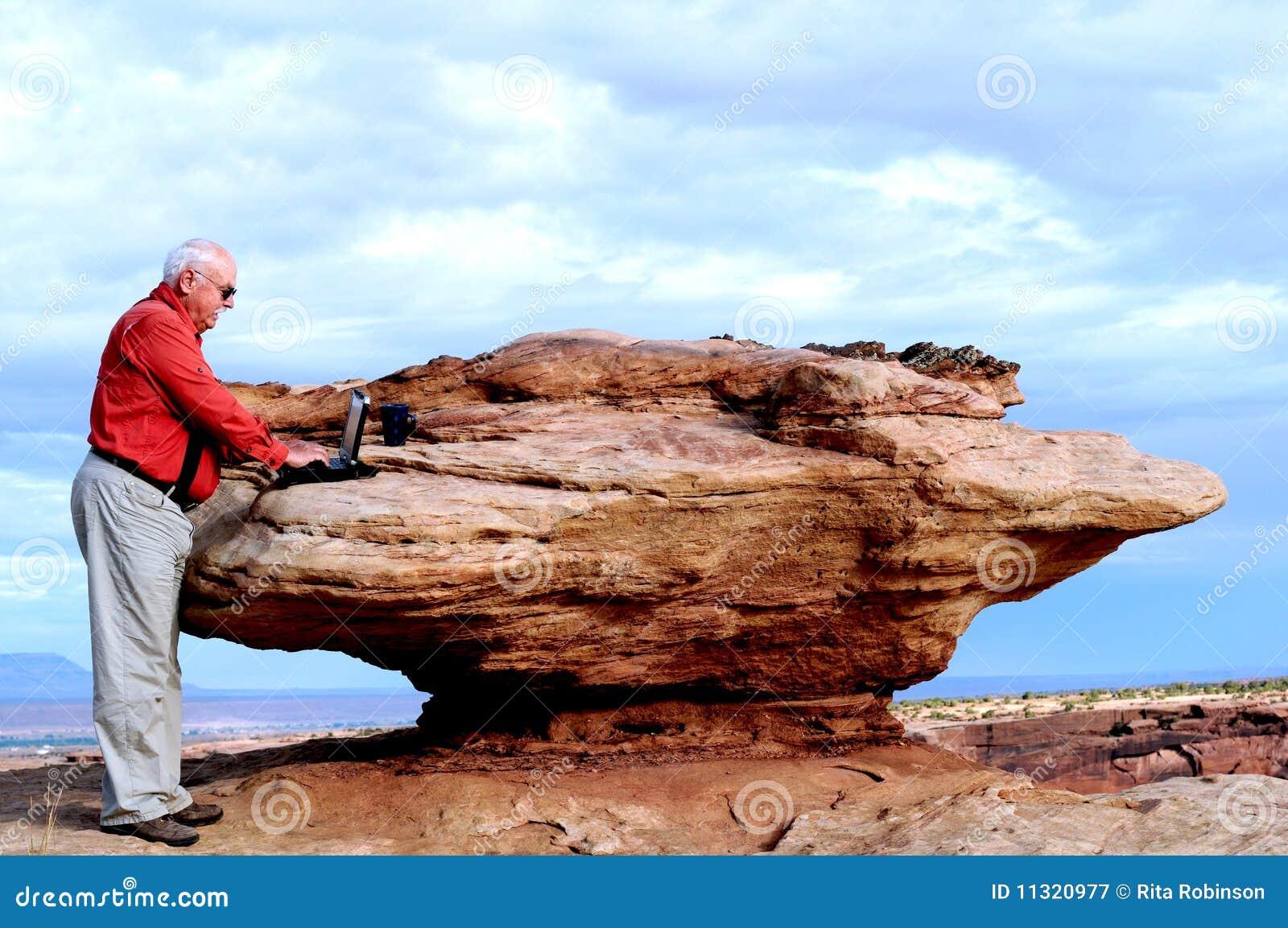 Felsen-ein-Schreibtisch