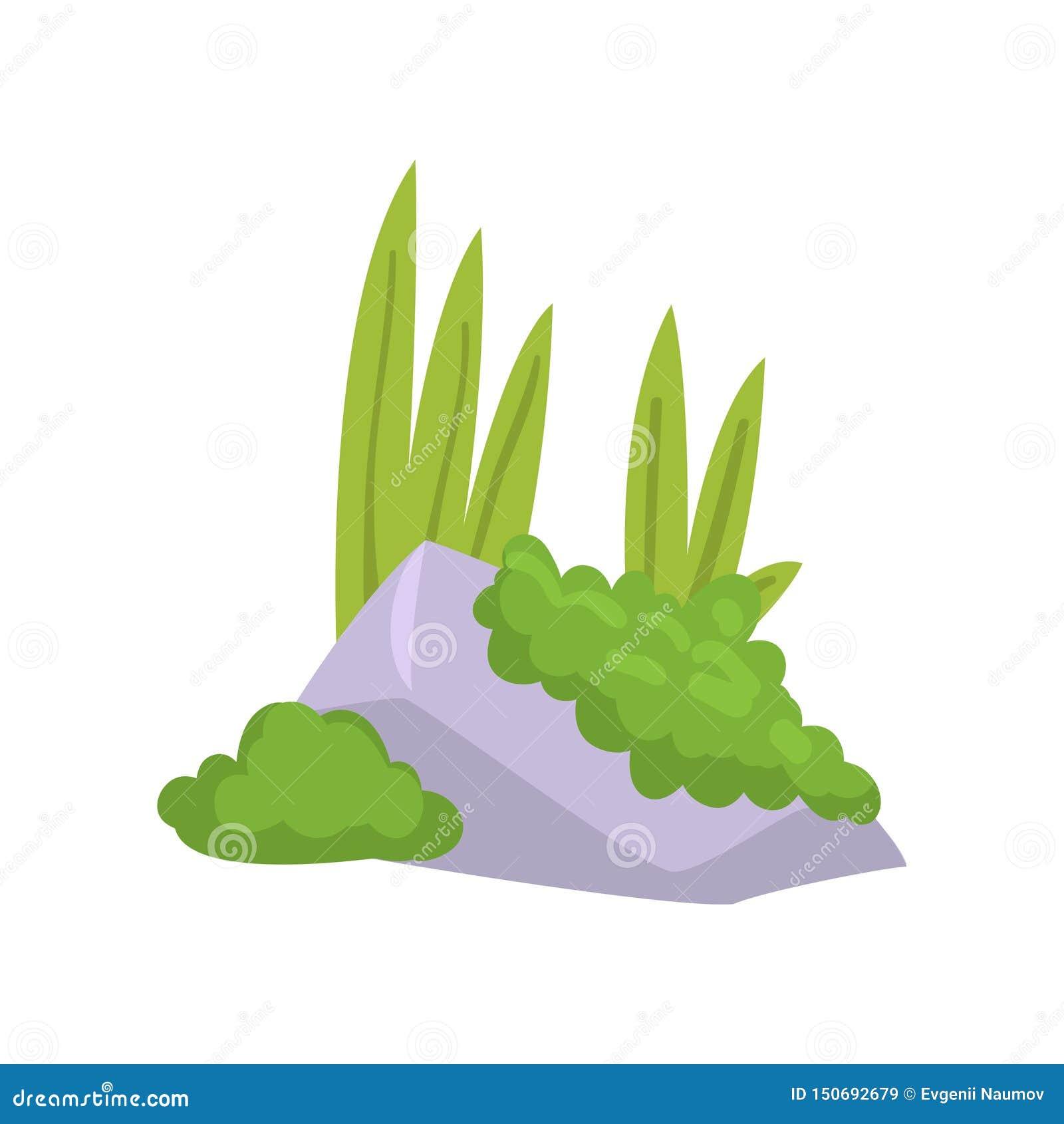 Felsen-Granit-Stein mit Moos und grünem Gras, Naturlandschafts-Gestaltungselement-Vektor-Illustration