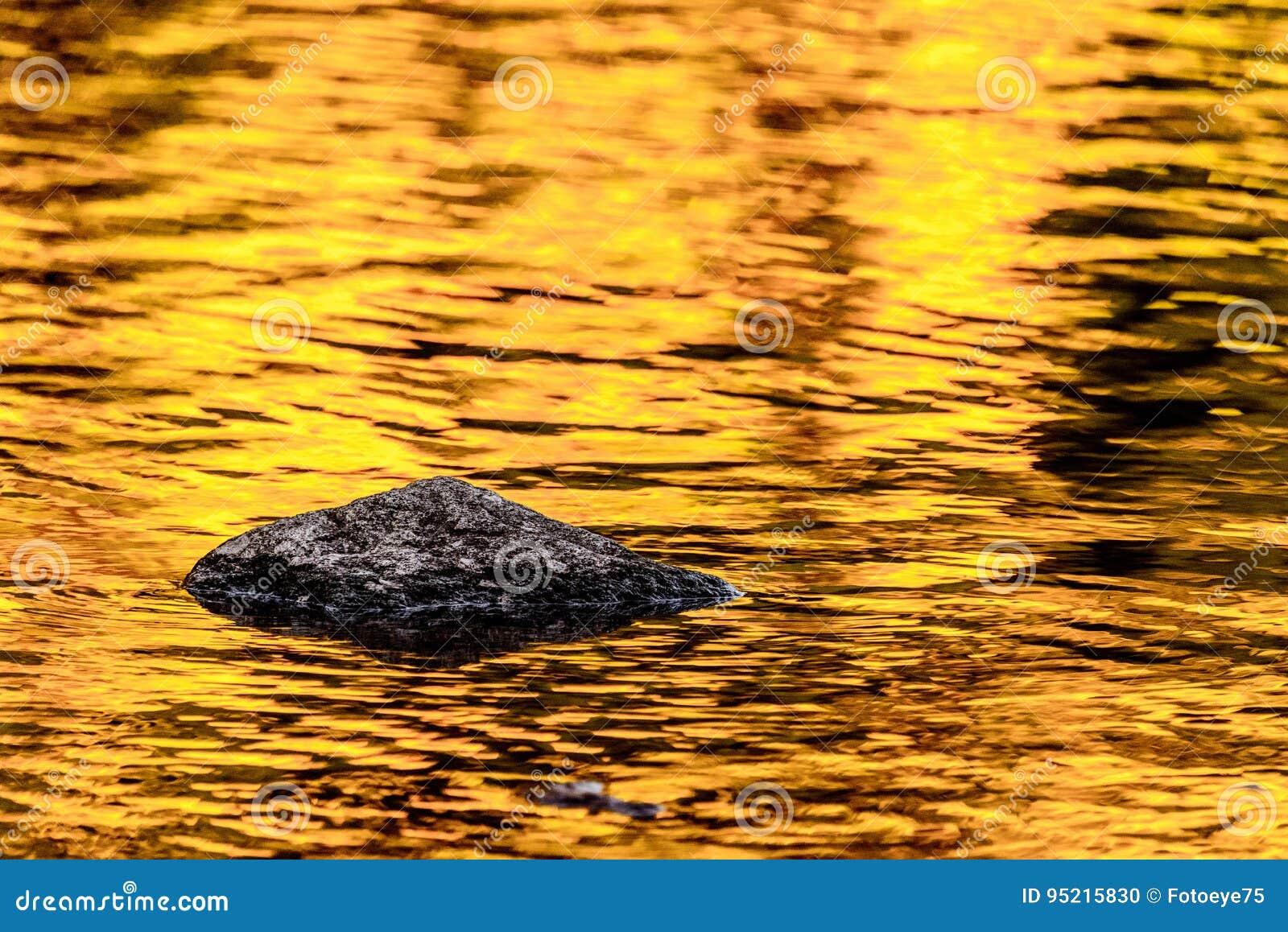 Felsen- und Goldherbstseereflexionen