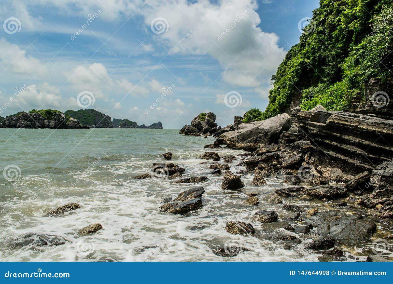 Felsige Küste von Cat Ba Island