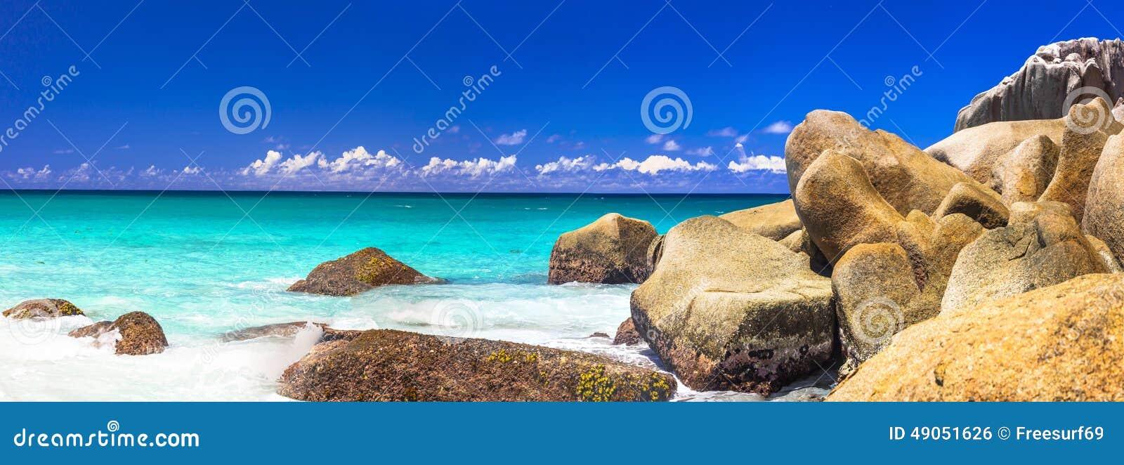 Felsige Strände des Granits von Seychellen, Praslin-Insel