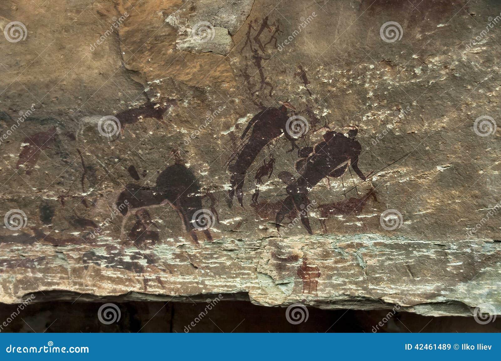 Felszeichnung von langen letzten San-Leuten (Buschmann) in der Giants-Schloss-Höhle