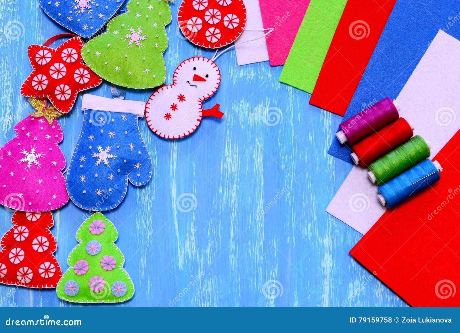 Mitten christmas decorations - Ball Christmas Colorful Crafts Decorations Felt Heart Kids Mitten
