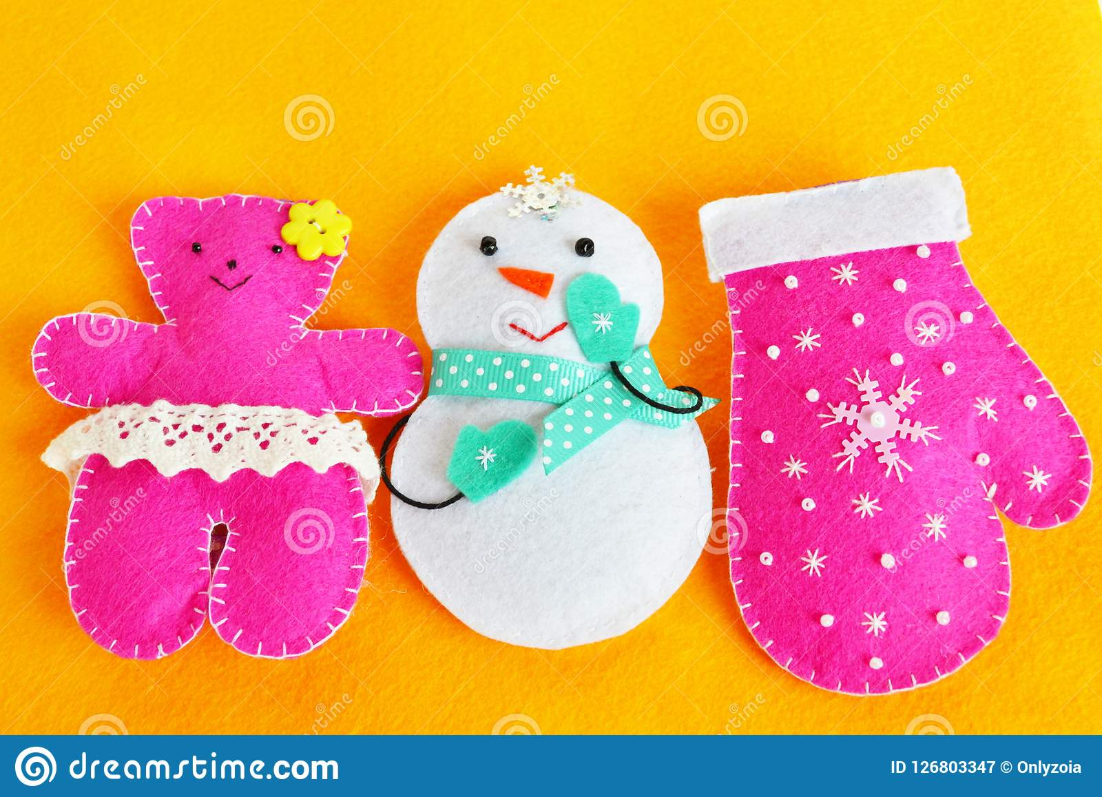 Handmade Felt Christmas Toys Handmade Kids Crafts Christmas Decorations Stock Image Image Of Needle Cyan 126803347