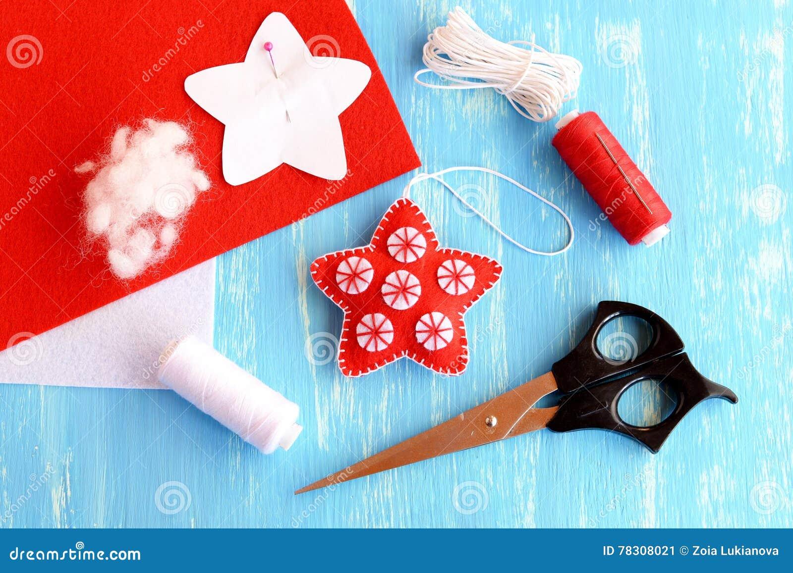 Felt Christmas Star Diy, Paper Pattern Pinned To Red Felt Sheet ...
