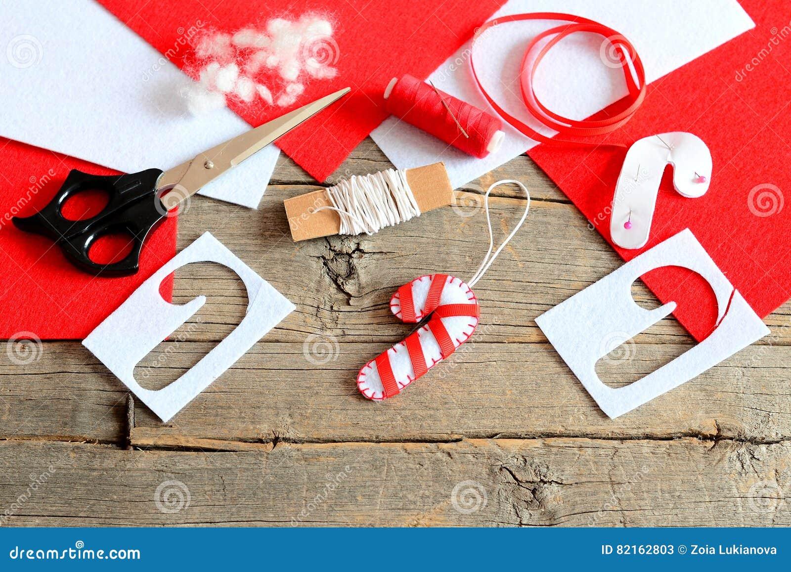 Felt Christmas Tree Candy Cane Ornament, Scissors, Paper Template ...