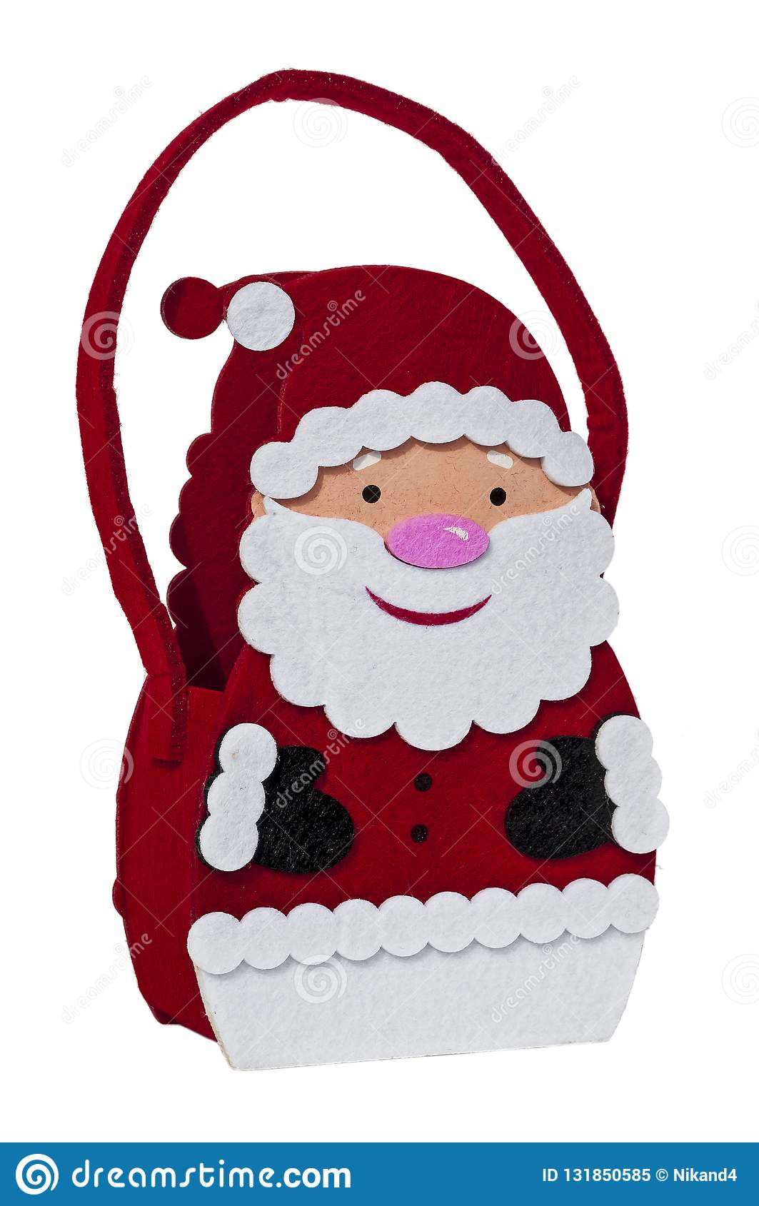 Felt Fabric Santa Claus Christmas Wine Bottle Gift Bag Stock ...