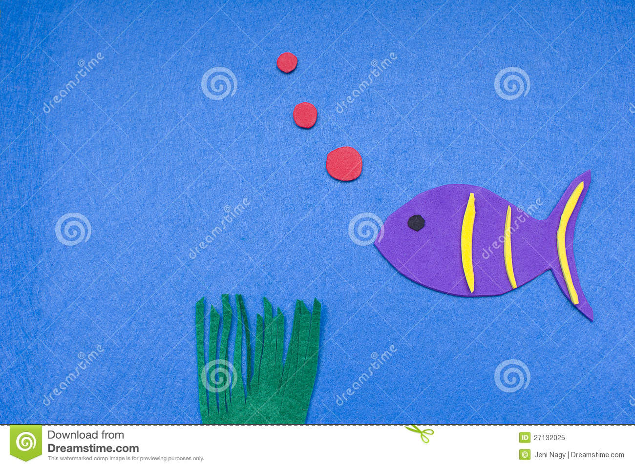Royalty free stock photo felt fish blowing bubbles