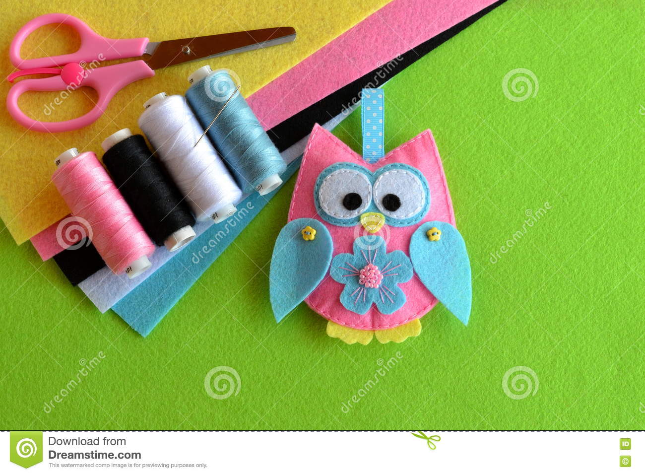 Kids Crafts Tutorial Sheets Of Colored Felt Scissors Thread Needle Sewing Concept