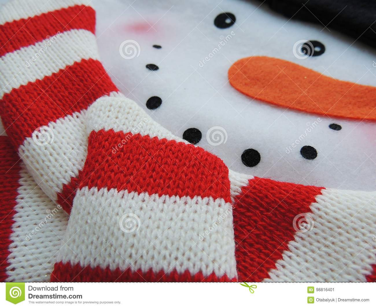 Felt Snowman With Knitted Scarf For Christmas Holidays. Stock Image ...