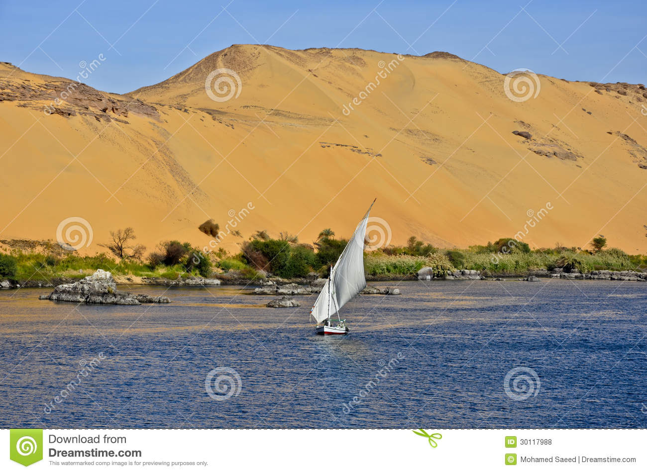 A felucca at The Nile in Aswan, Egypt