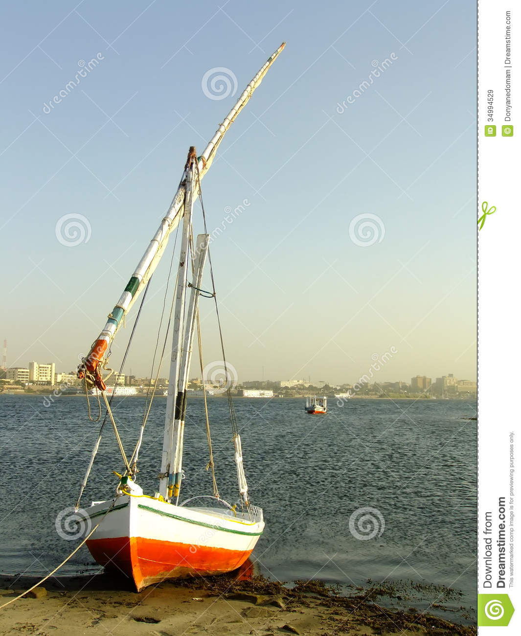 Felucca Boat On The Nile River Bank Stock Image