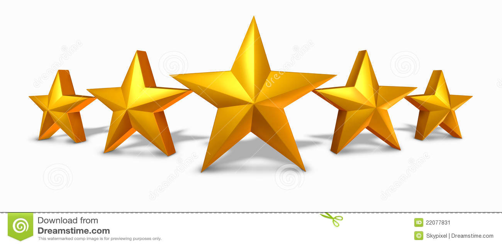 Fem för värderingsstjärna för guld guld- stjärnor