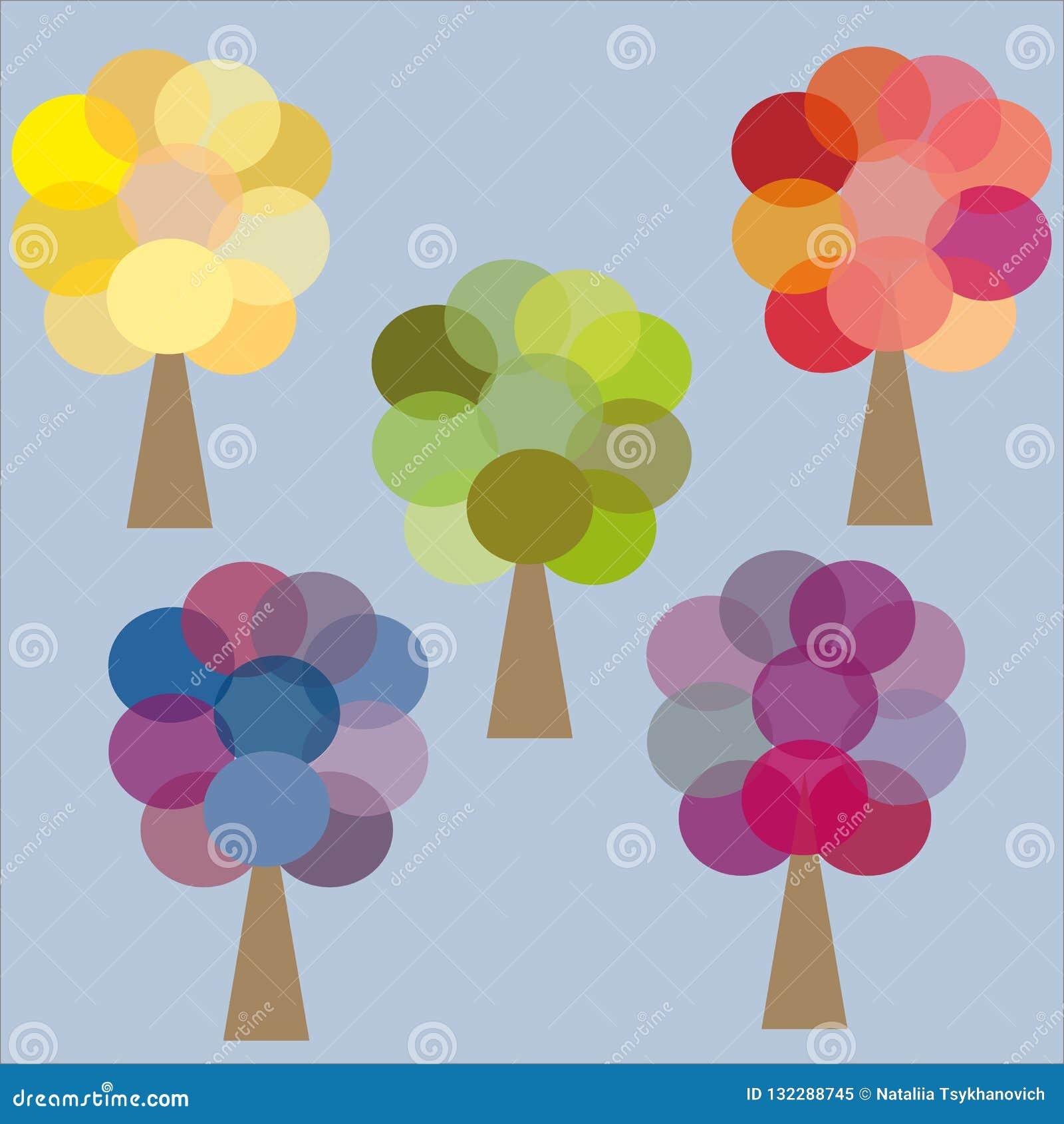 Fem gula gröna rosa lila blått för färgträd