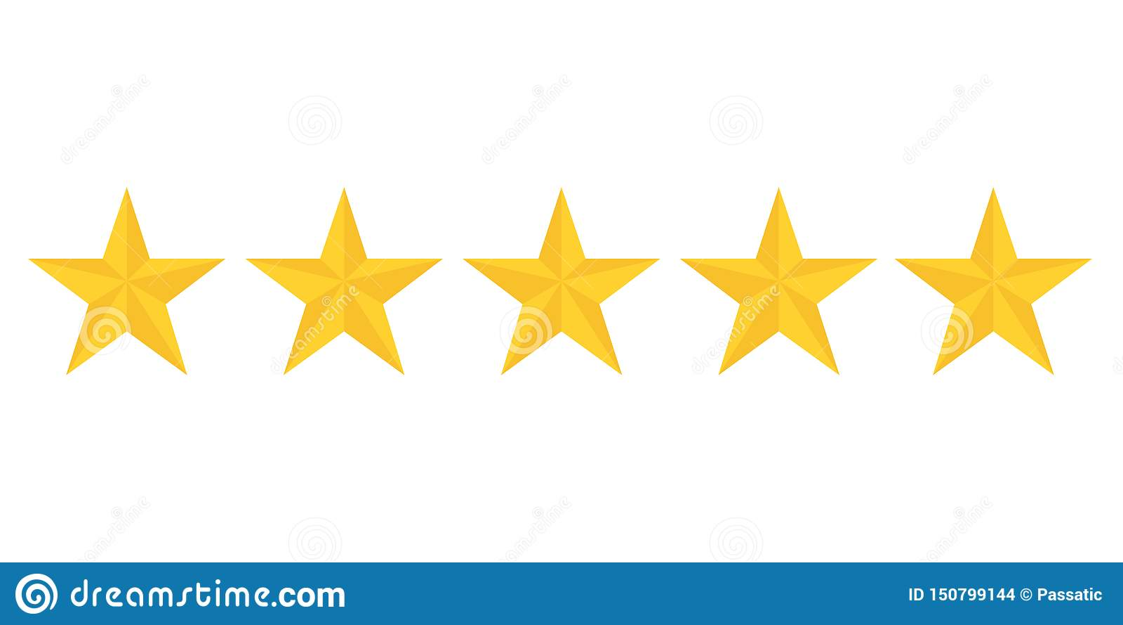 Fem guld- stjärnor som klassar visa bästa kvalitet