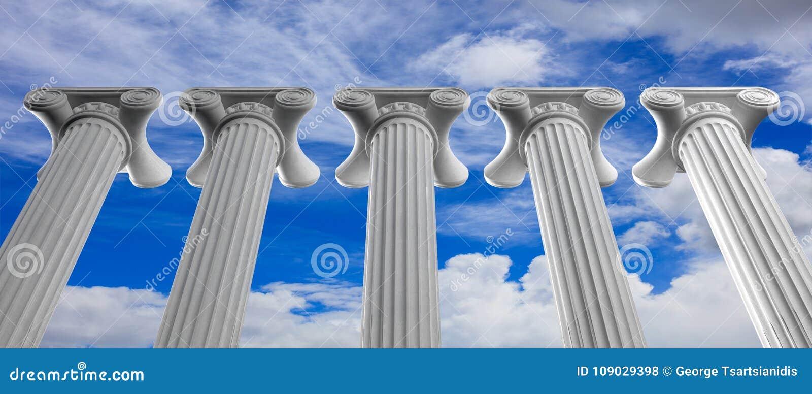 Fem marmorpelare av islam eller rättvisa och moment på bakgrund för blå himmel illustration 3d