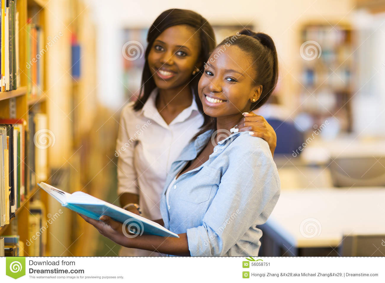 Download Female African University Students Stock Image - Image of happy, book: 56058751