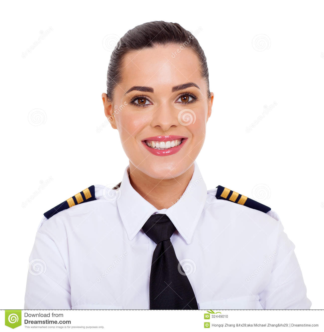 Female airline pilot stock photo. Image of half, cheerful ...
