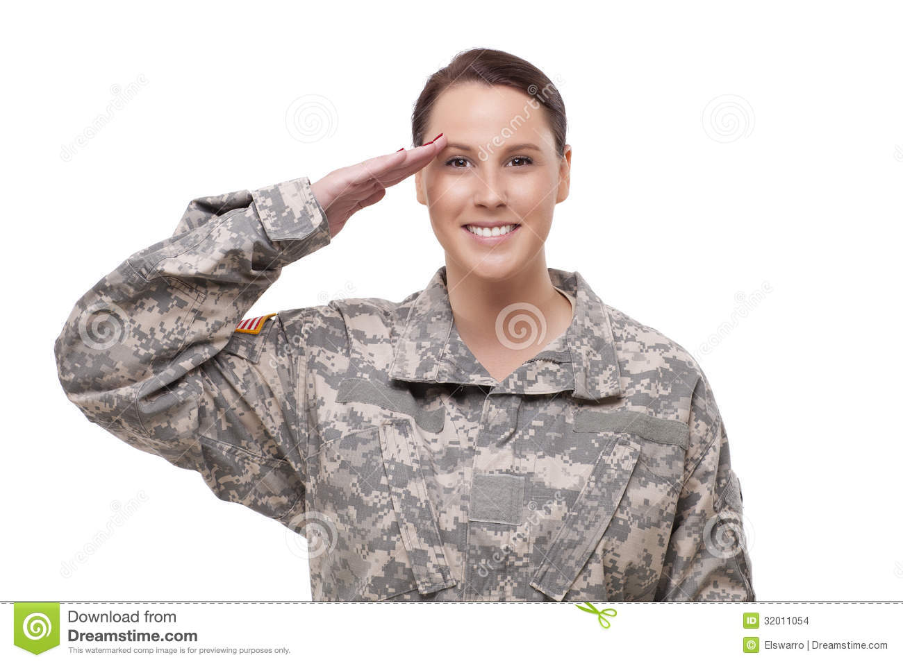 Female American Soldier Saluting Stock Images - Image ...