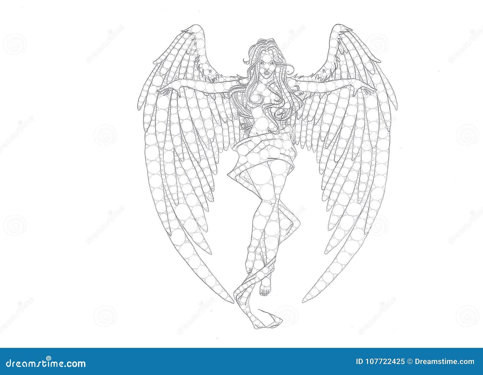 Female angel pencil drawing stock illustration illustration of