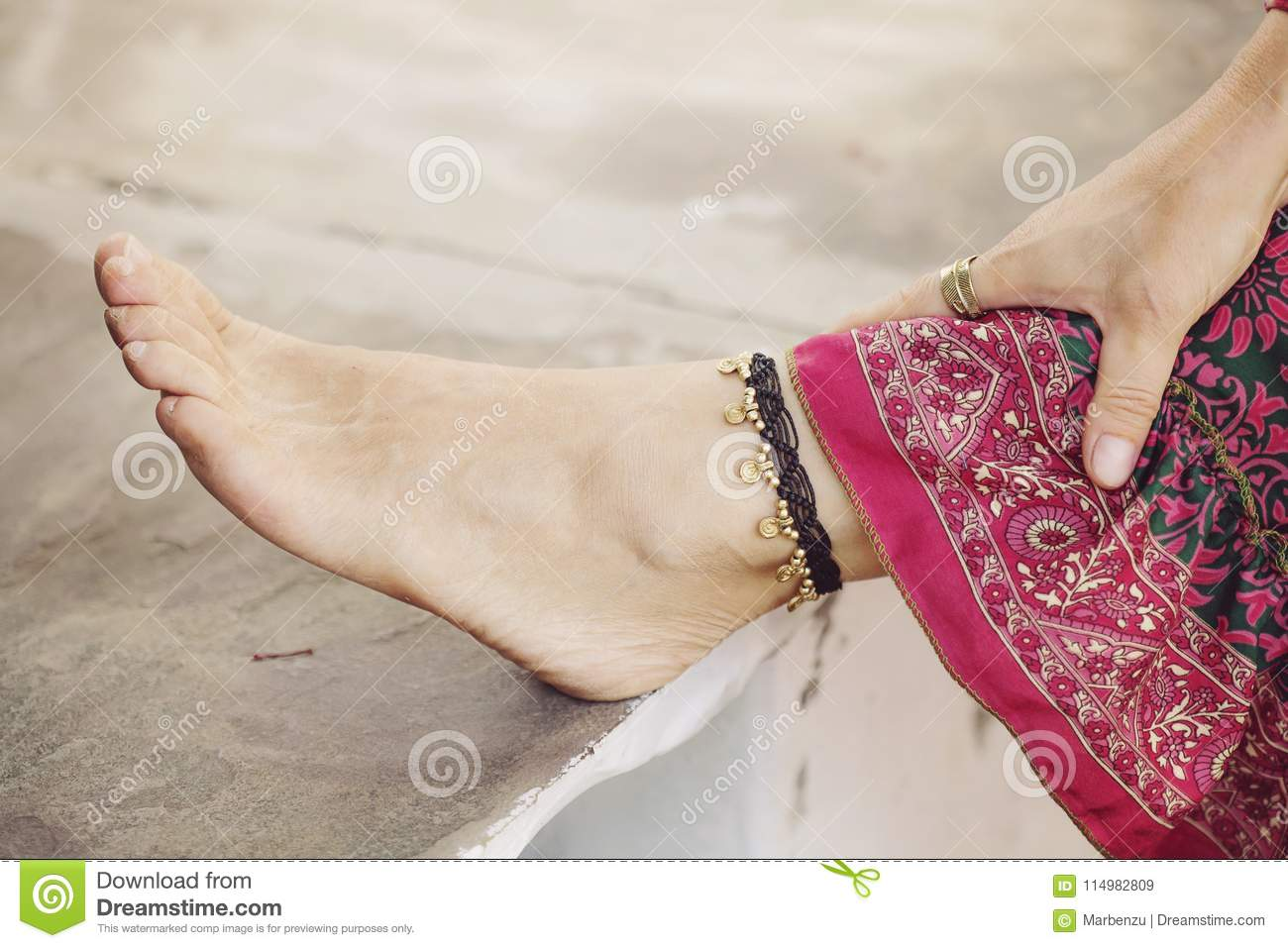 female big anklet woman one red her feet toenails and foot stock toe of thread with photo on standing young
