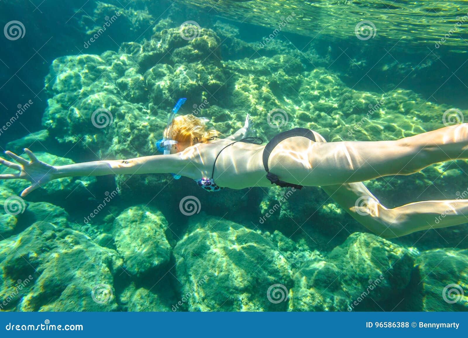 Female apnea underwater stock photo  Image of diver, deep - 96586388