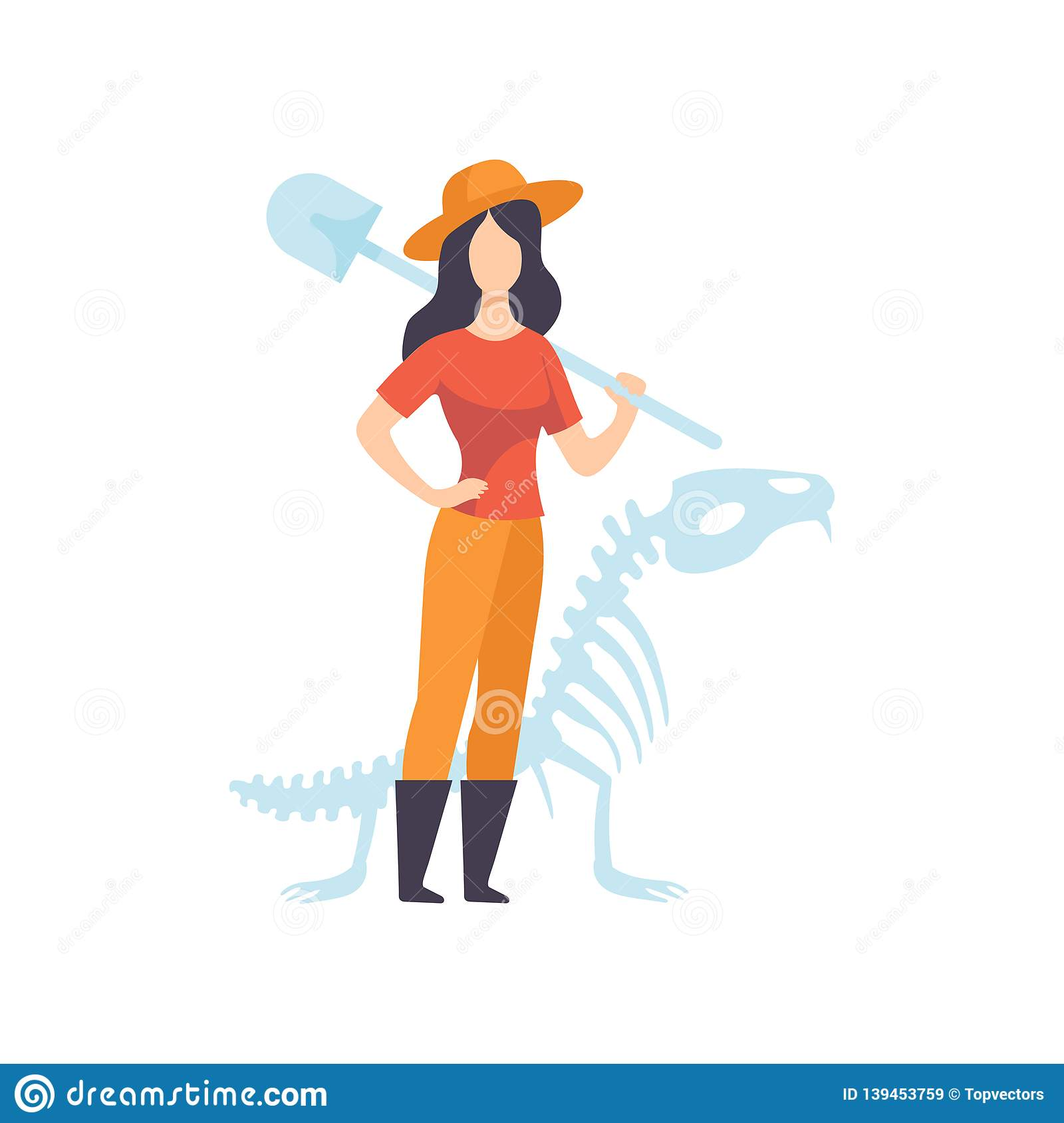 Female Archaeologists or Paleontologist Character Standing with Shovel Vector Illustration