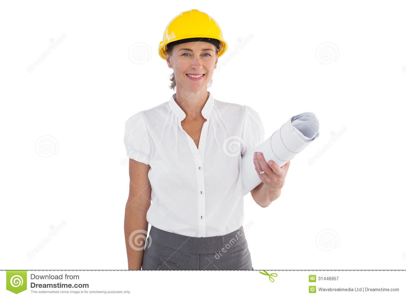 Female Architect Holding Plans And Hard Hat Royalty Free