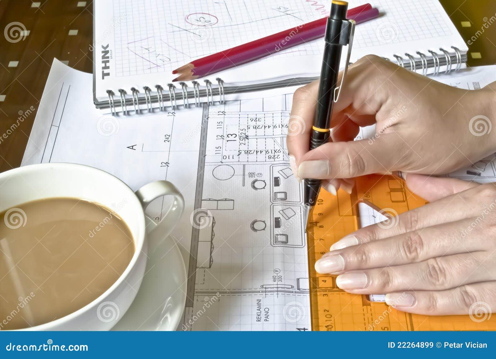 Female Architect at work stock image. Image of engineer ...