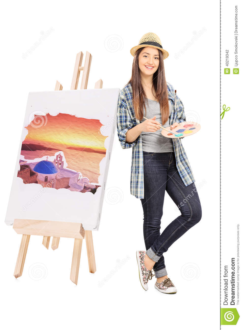 Female Artist Leaning On An Easel With Painting Stock ...